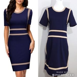 Miusol Navy Blue Tan Career Sheath Dress L